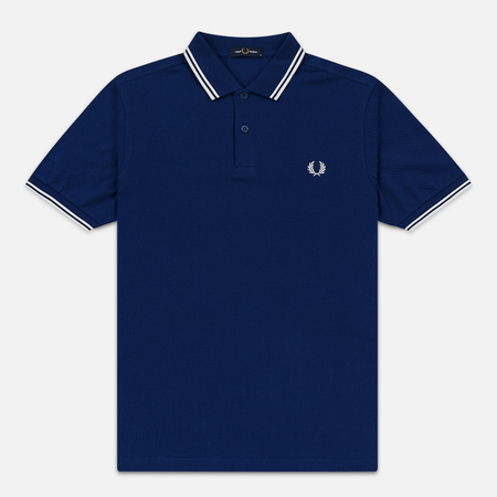 Мужское поло Fred Perry M3600 Twin Tipped Medieval Blue/Snow White/Snow White