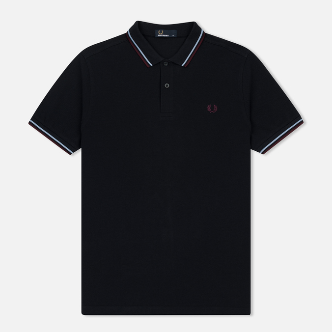 Мужское поло Fred Perry M3600 Twin Tipped Navy/Light Smoke/Bramble