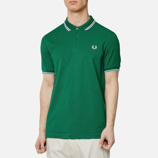 Мужское поло Fred Perry M3600 Twin Tipped Raf Green/White/Silver Pink