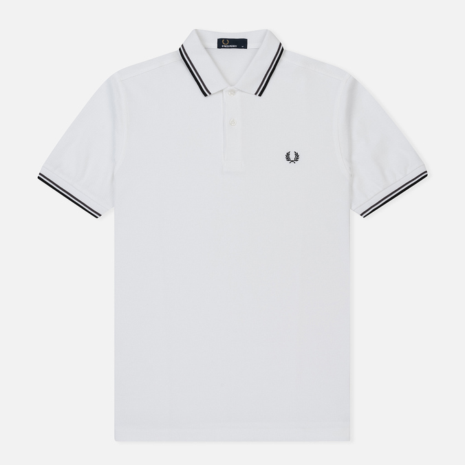 Мужское поло Fred Perry M3600 Twin Tipped White/Iced Slate/Black