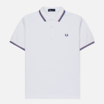 Мужское поло Fred Perry M3600 Twin Tipped White/Maroon/Regal фото- 0