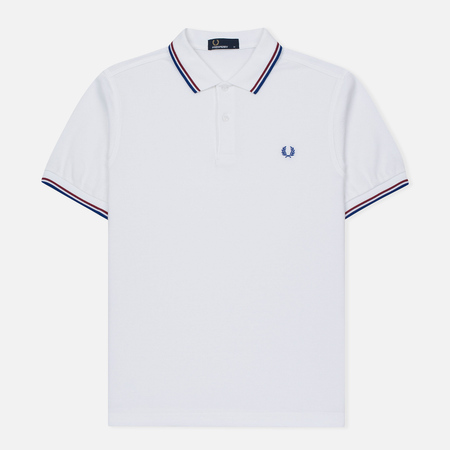 Мужское поло Fred Perry M3600 Twin Tipped White/Maroon/Regal