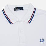 Мужское поло Fred Perry M3600 Twin Tipped White/Maroon/Regal фото- 1