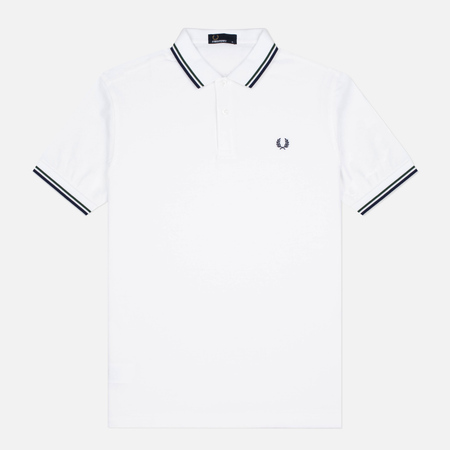 Мужское поло Fred Perry M3600 Twin Tipped White/Mid Ivy/French Navy
