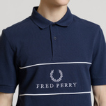 Мужское поло Fred Perry Panel Piped Pique Carbon Blue фото- 3