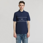 Мужское поло Fred Perry Panel Piped Pique Carbon Blue фото- 1
