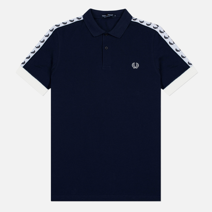 Мужское поло Fred Perry Sports Authentic Taped Pique Carbon Blue