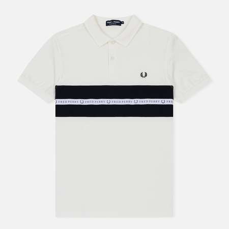 Мужское поло Fred Perry Sports Tape Pique Snow White