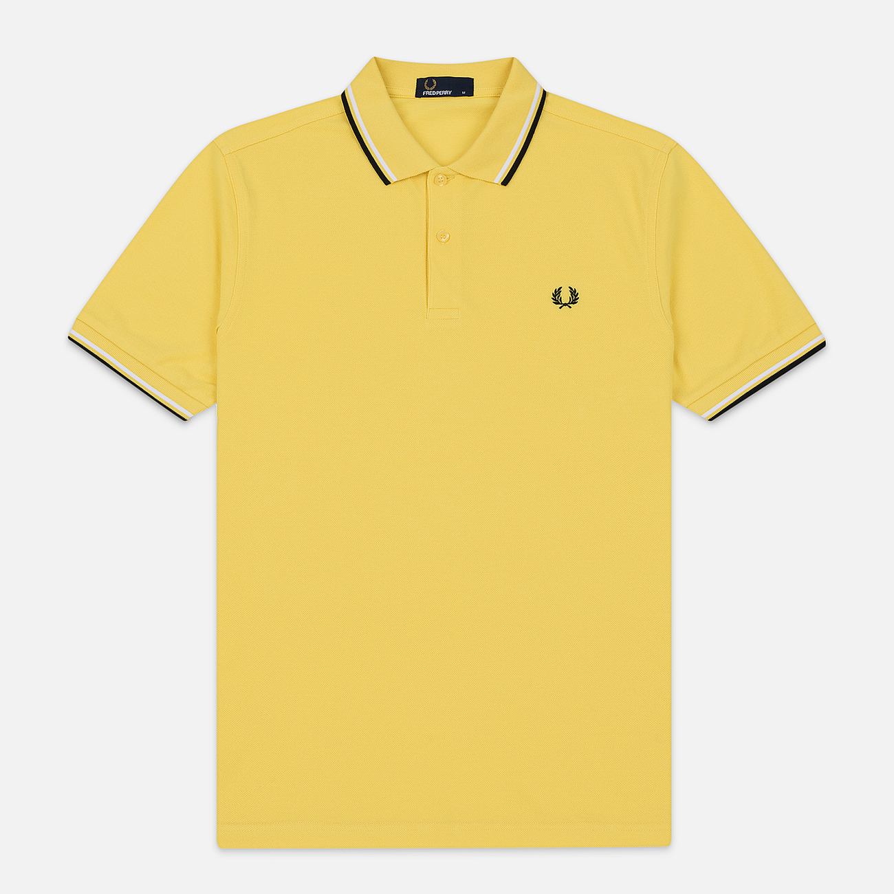 Мужское поло Fred Perry Twin Tipped Electric Yellow/White/Black
