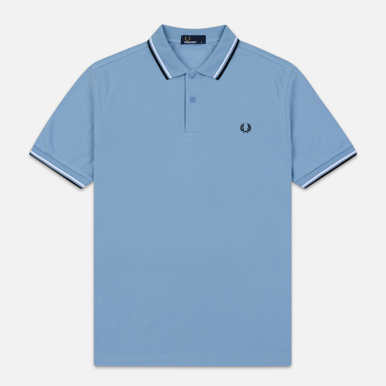 Мужское поло Fred Perry Twin Tipped Sky/White/Black
