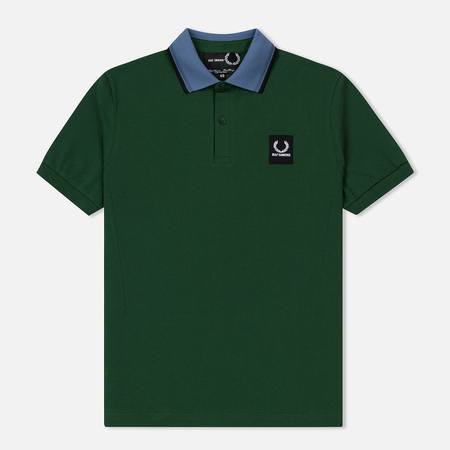Мужское поло Fred Perry x Raf Simons Contrast Collar Pique Tartan Green