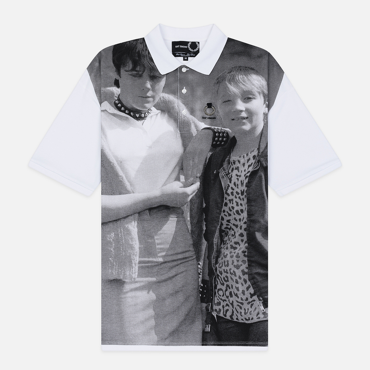 Мужское поло Fred Perry x Raf Simons Oversized Printed Pique White