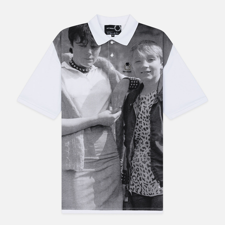 Мужское поло Fred Perry x Raf Simons Oversized Printed Pique White