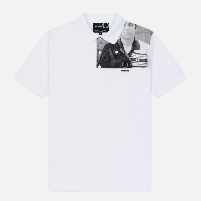 Мужское поло Fred Perry x Raf Simons Shoulder Print White
