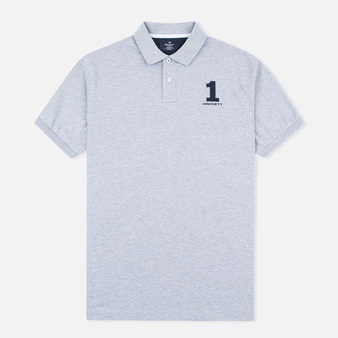 Hackett New Classic Number Men's Polo Light Grey Marl