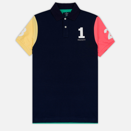 Мужское поло Hackett Numbered Multi Navy/Green/Yellow/Pink