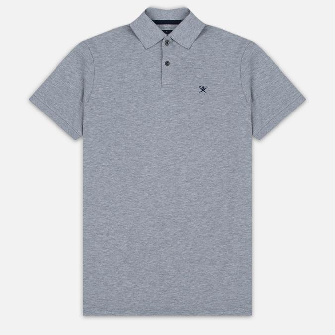 Мужское поло Hackett Tailored Logo Grey Marl