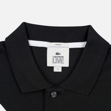 Мужское поло Lacoste Live Loose Fit Signature Cotton Pique Black/White фото- 1