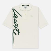 Мужское поло Lacoste Live Loose Fit Signature Cotton Pique White/Green фото- 0