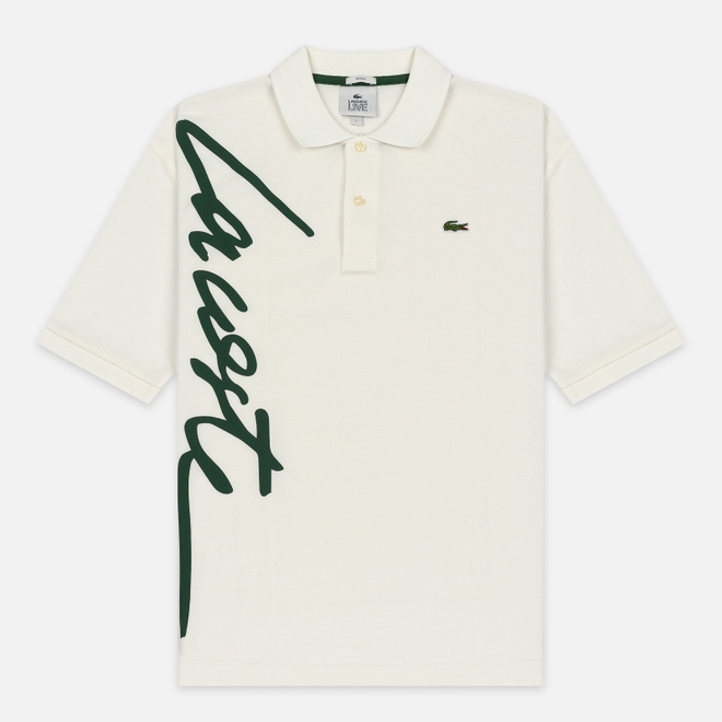 Мужское поло Lacoste Live Loose Fit Signature Cotton Pique White/Green