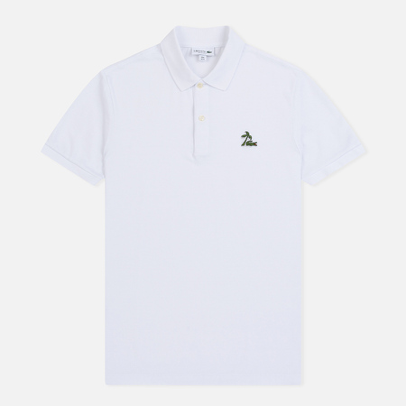 Мужское поло Lacoste Regular Fit Palm Tree Croc White