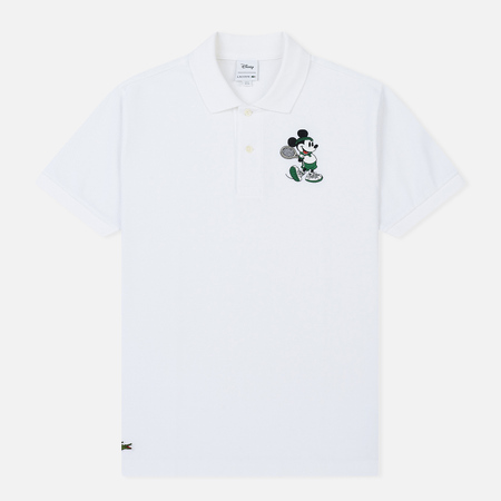 Мужское поло Lacoste x Disney Embroidered Mickey Mouse White
