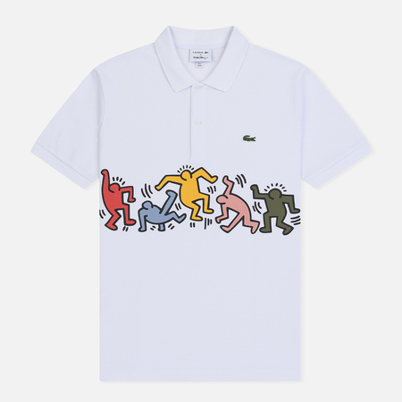 Мужское поло Lacoste x Keith Haring Print Band Regular Fit White/Multicolor