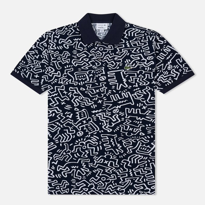 Мужское поло Lacoste x Keith Haring Print Classic Fit Navy Blue/White