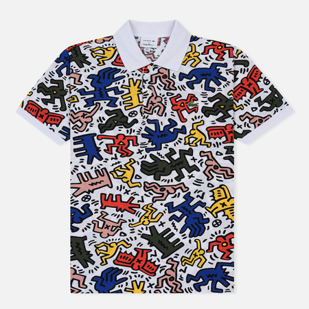 Мужское поло Lacoste x Keith Haring Print Classic Fit White/White