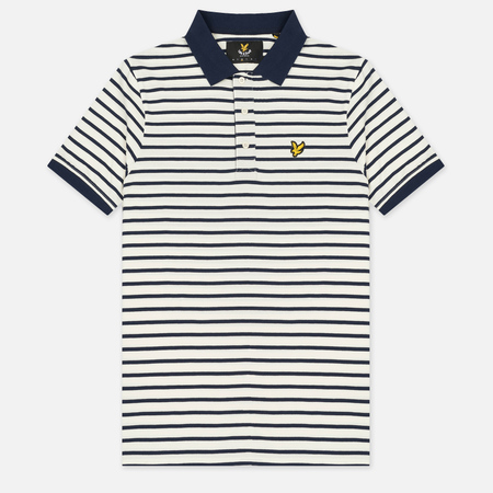 Мужское поло Lyle & Scott Breton Stripe Regular Fit Off White