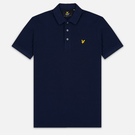 Мужское поло Lyle & Scott Plain Pique Jersey Regular Fit Navy