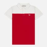 Мужское поло Maison Kitsune Bicolor White/Red фото- 0