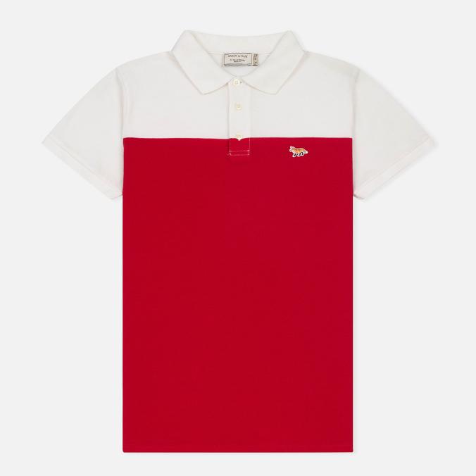 Мужское поло Maison Kitsune Bicolor White/Red