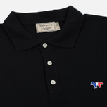 Мужское поло Maison Kitsune Tricolor Fox Patch Black фото- 2