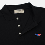 Мужское поло Maison Kitsune Tricolor Fox Patch Black фото- 3