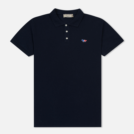 Мужское поло Maison Kitsune Tricolor Fox Patch Navy