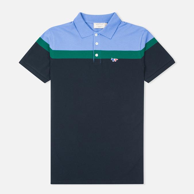 Мужское поло Maison Kitsune Tricolor Patch Navy/Green/Blue