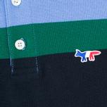 Мужское поло Maison Kitsune Tricolor Patch Navy/Green/Blue фото- 3