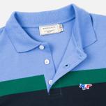 Мужское поло Maison Kitsune Tricolor Patch Navy/Green/Blue фото- 2