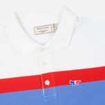 Мужское поло Maison Kitsune Tricolor Patch Sky/Red/White фото- 1