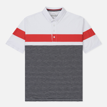 Мужское поло Napapijri Erip Stripe White/Red/Navy