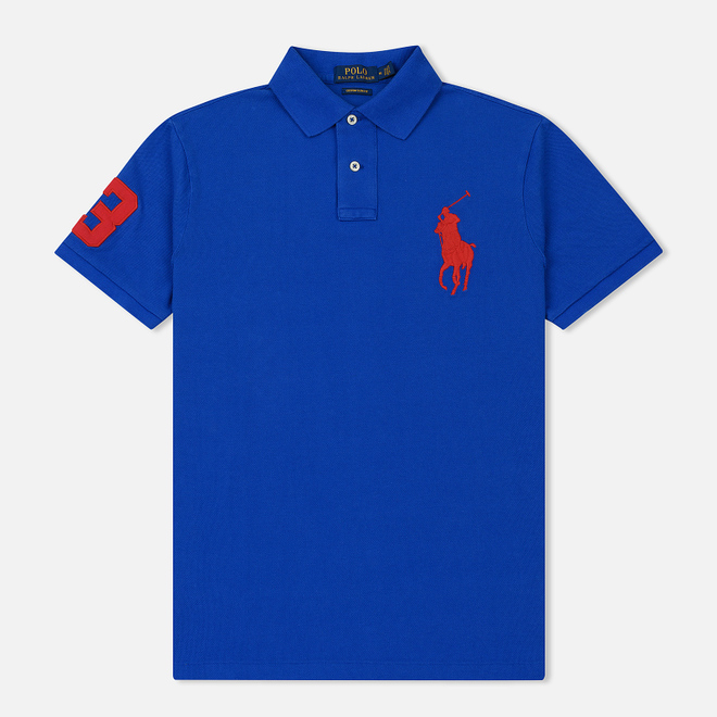 Мужское поло Polo Ralph Lauren Big Logo Embroidered And Patch 3 Custom Slim Fit Blue Saturn