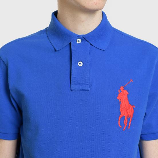 Мужское поло Polo Ralph Lauren Big Logo Embroidered And Patch 3 Custom Slim Fit Blue Saturn