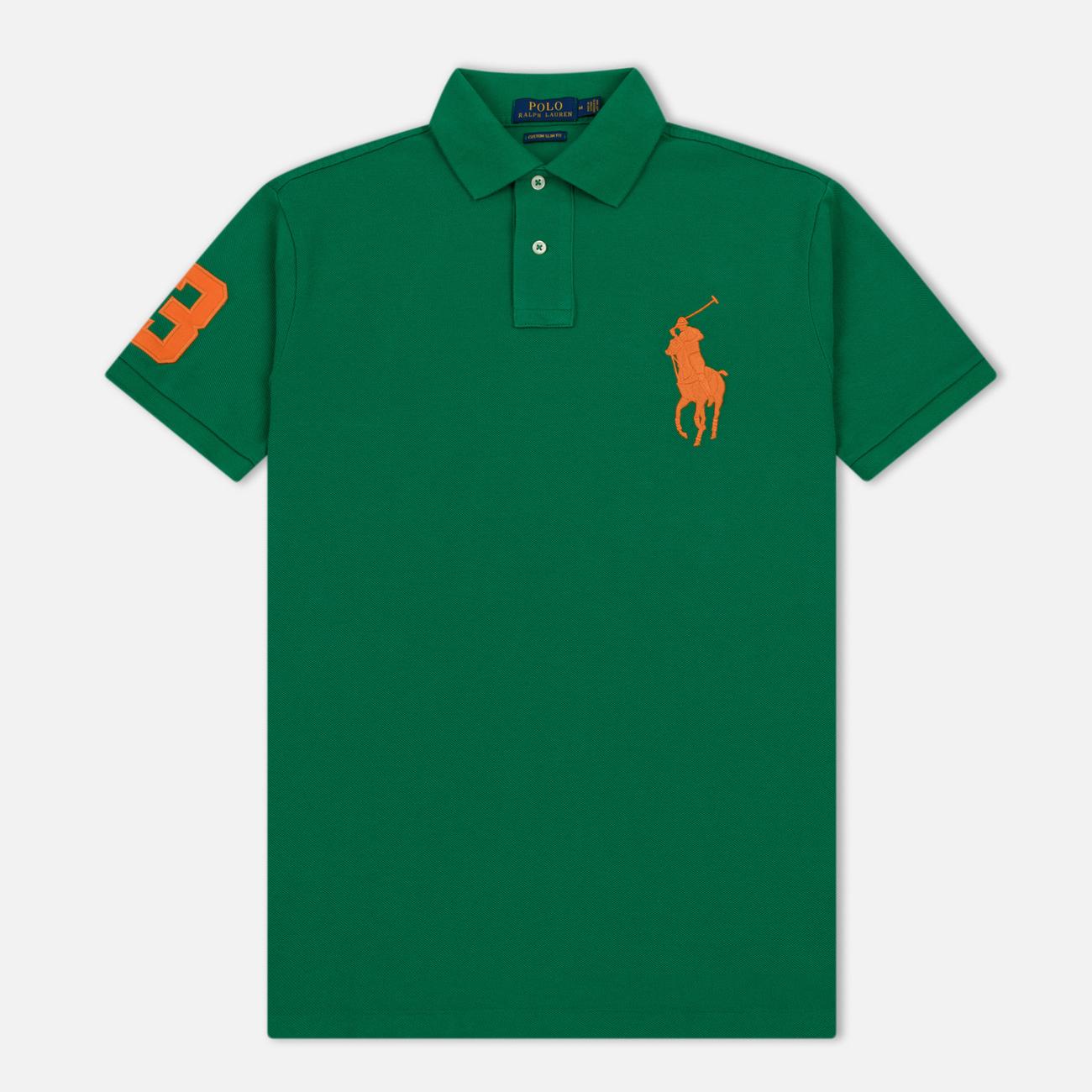Мужское поло Polo Ralph Lauren Big Logo Embroidered And Patch 3 Custom Slim Fit Kayak Green