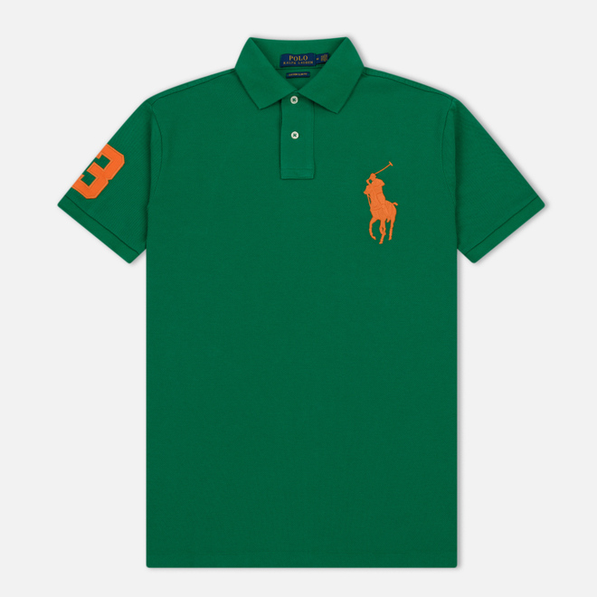 Мужское поло Polo Ralph Lauren Big Logo Embroidered And Patch 3 Custom Slim Fit Kayak Green
