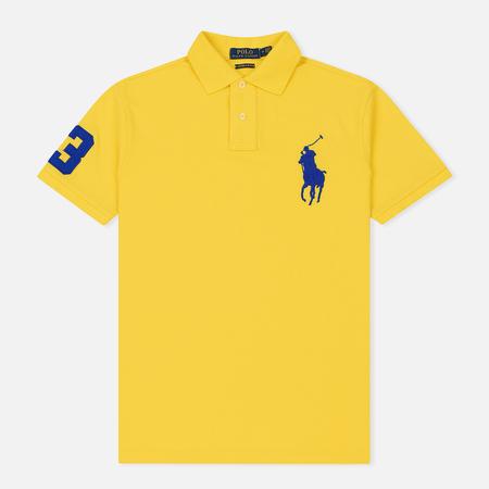 Мужское поло Polo Ralph Lauren Big Logo Embroidered And Patch 3 Custom Slim Fit Lemon Rind