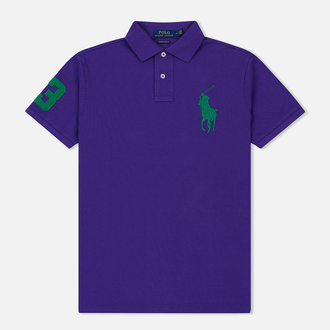 Мужское поло Polo Ralph Lauren Big Logo Embroidered And Patch 3 Custom Slim Fit Purple Rage