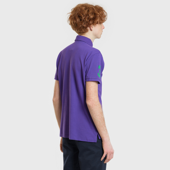 Мужское поло Polo Ralph Lauren Big Logo Embroidered And Patch 3 Custom Slim Fit Purple Rage