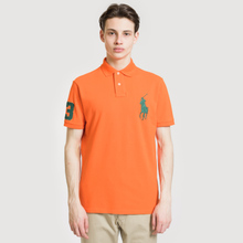 Мужское поло Polo Ralph Lauren Big Logo Embroidered And Patch 3 Custom Slim Fit Sailing Orange фото- 1