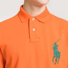 Мужское поло Polo Ralph Lauren Big Logo Embroidered And Patch 3 Custom Slim Fit Sailing Orange фото- 2